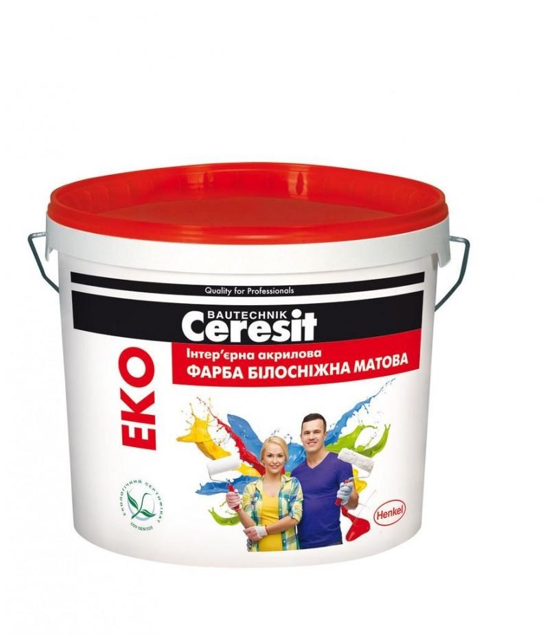 Краска интерьерная акриловая Ceresit Eko (белоснежная матовая) 14 кг